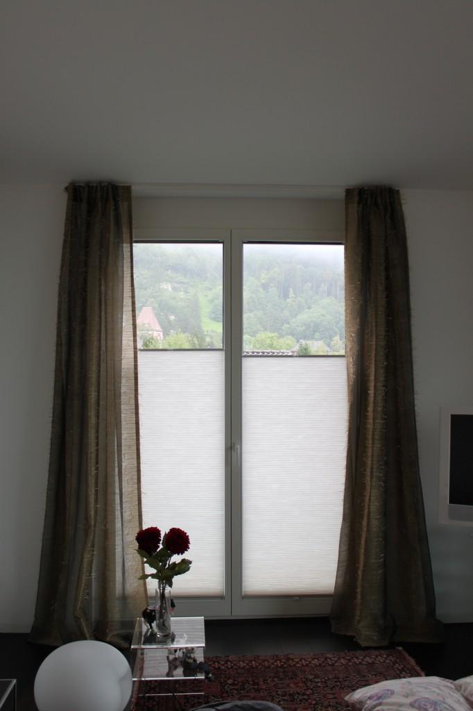 vorhang mit pliss e. Black Bedroom Furniture Sets. Home Design Ideas